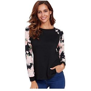 Tops - Black Floral Knit Top-Small